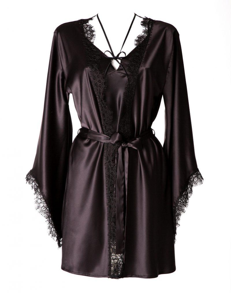 Satynowe kimono Black Beauty White Rvbbit