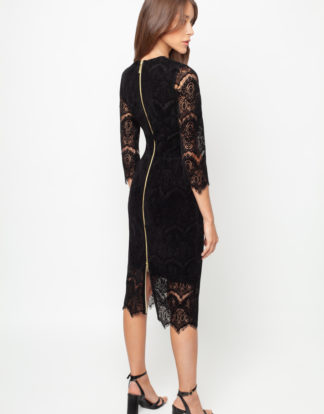 Black Velvet pencil dress by White Rvbbit