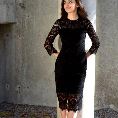 Czarna sukienka ołówkowa Black Velvet White Rvbbit