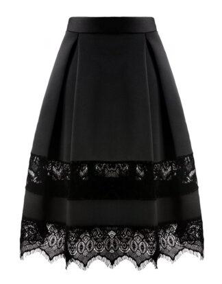 Black Velvet midi skirt by white Rvbbit