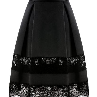 Rozkloszowana spódnica Black Velvet WHITE RVBBIT
