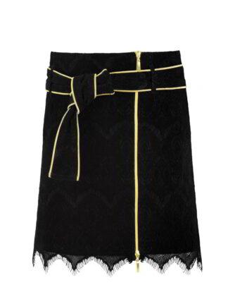 Black Velvet Mini skirt A-line by White Rvbbit
