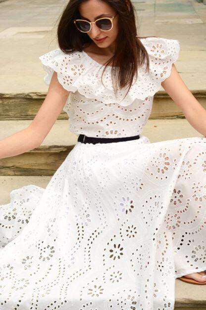 Biała sukienka - komplet bluzka i spódnica White Rvbbit