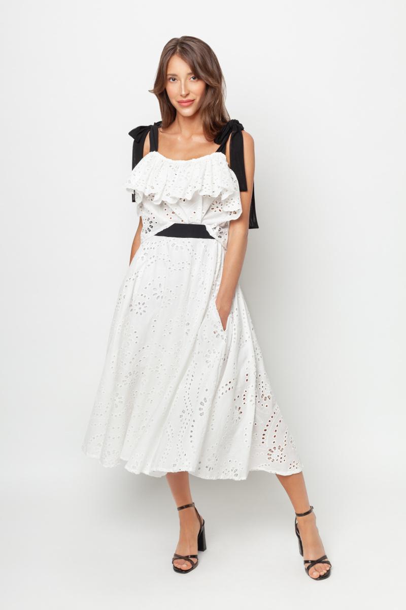 Bluzka z kokardami spódnica biała White Rvbbit