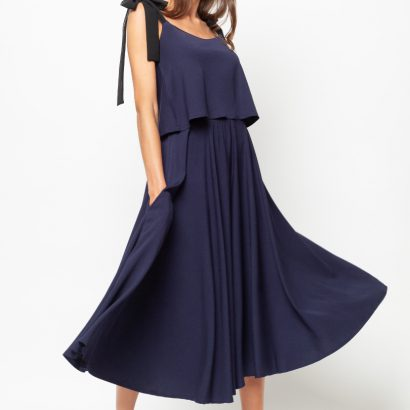 Spodnica midi First Rose navy blue