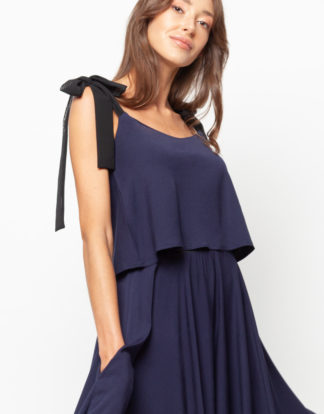 First Rose Navy Blue bowknot top
