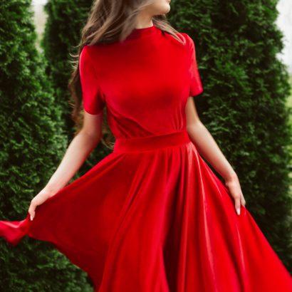 Czerwony komplet z weluru Some Love