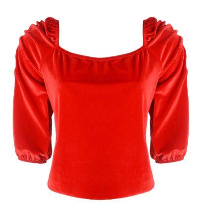Czerwona welurowa bluzka Some Love