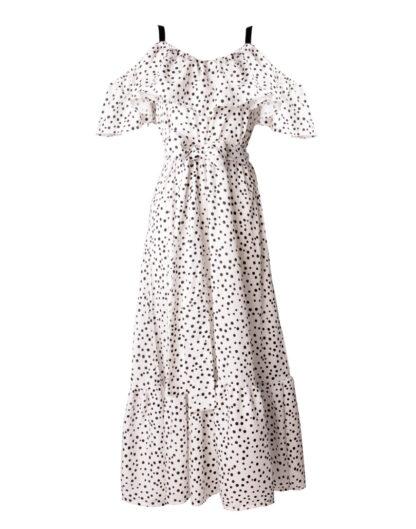 Sukienka z falbaną White Peony - WHITE RVBBIT