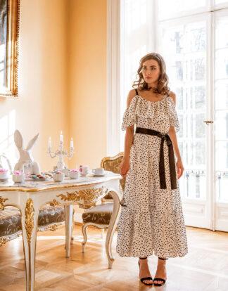 Sukienka z falbaną White Peony - czarny pasek - WHITE RVBBIT