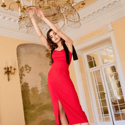 Czerwona ołówkowa sukienka Red Shadow